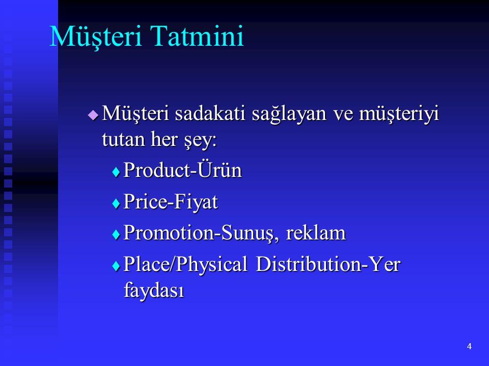 4 Müşteri Tatmini  Müşteri sadakati sağlayan ve müşteriyi tutan her şey:  Product-Ürün  Price-Fiyat  Promotion-Sunuş, reklam  Place/Physical Dist