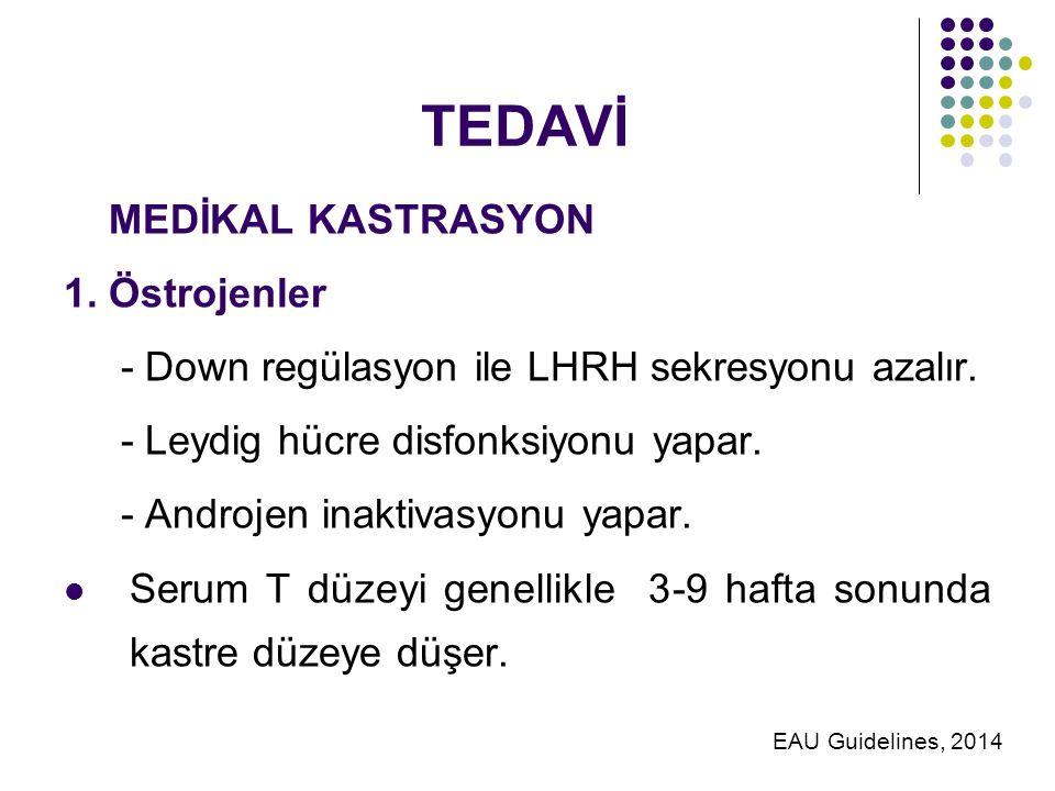 TEDAVİ MEDİKAL KASTRASYON 1.Östrojenler - Down regülasyon ile LHRH sekresyonu azalır.