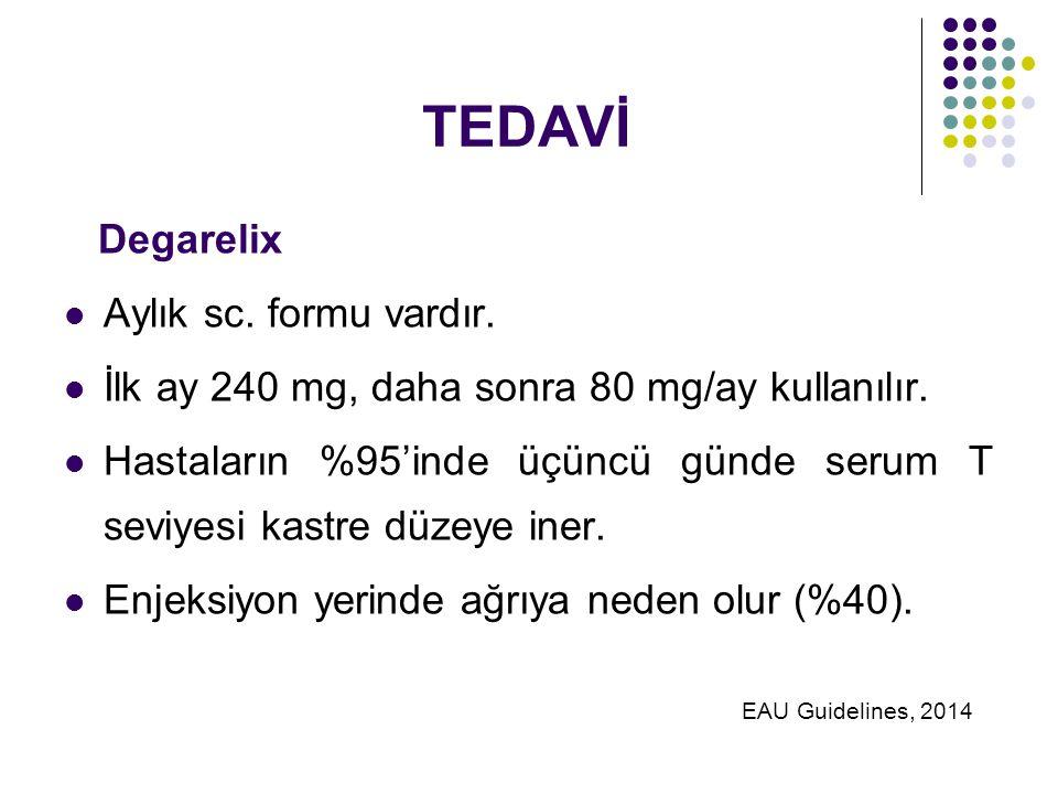 TEDAVİ Degarelix Aylık sc.formu vardır. İlk ay 240 mg, daha sonra 80 mg/ay kullanılır.