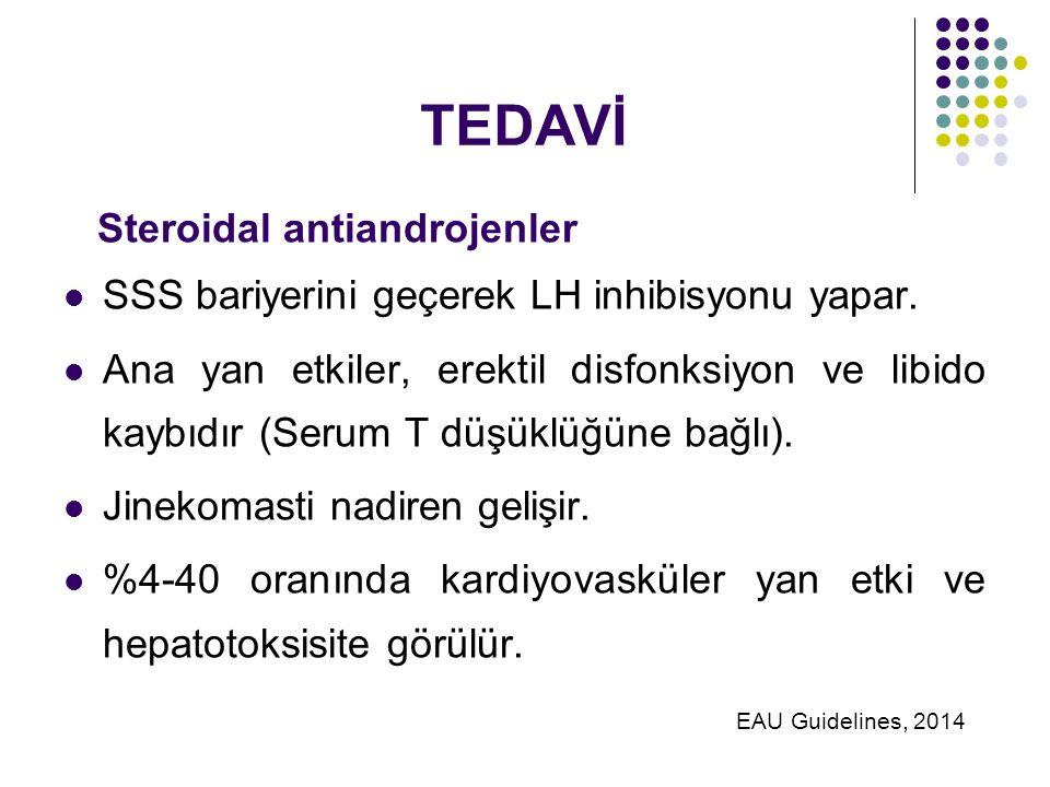 TEDAVİ Steroidal antiandrojenler SSS bariyerini geçerek LH inhibisyonu yapar.