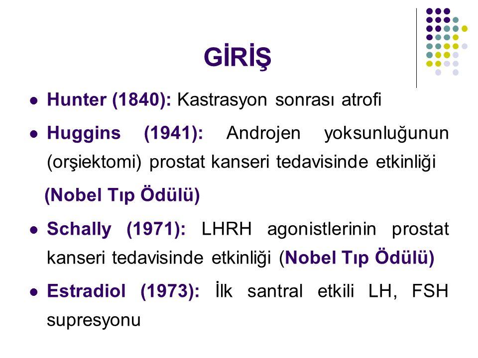 GİRİŞ Hunter (1840): Kastrasyon sonrası atrofi Huggins (1941): Androjen yoksunluğunun (orşiektomi) prostat kanseri tedavisinde etkinliği (Nobel Tıp Ödülü) Schally (1971): LHRH agonistlerinin prostat kanseri tedavisinde etkinliği (Nobel Tıp Ödülü) Estradiol (1973): İlk santral etkili LH, FSH supresyonu
