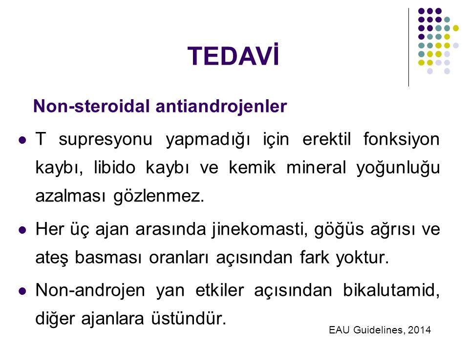 TEDAVİ Non-steroidal antiandrojenler T supresyonu yapmadığı için erektil fonksiyon kaybı, libido kaybı ve kemik mineral yoğunluğu azalması gözlenmez.