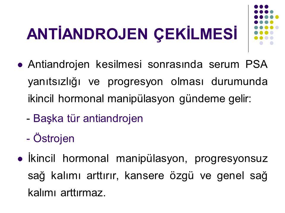 ANTİANDROJEN ÇEKİLMESİ Antiandrojen kesilmesi sonrasında serum PSA yanıtsızlığı ve progresyon olması durumunda ikincil hormonal manipülasyon gündeme gelir: - Başka tür antiandrojen - Östrojen İkincil hormonal manipülasyon, progresyonsuz sağ kalımı arttırır, kansere özgü ve genel sağ kalımı arttırmaz.