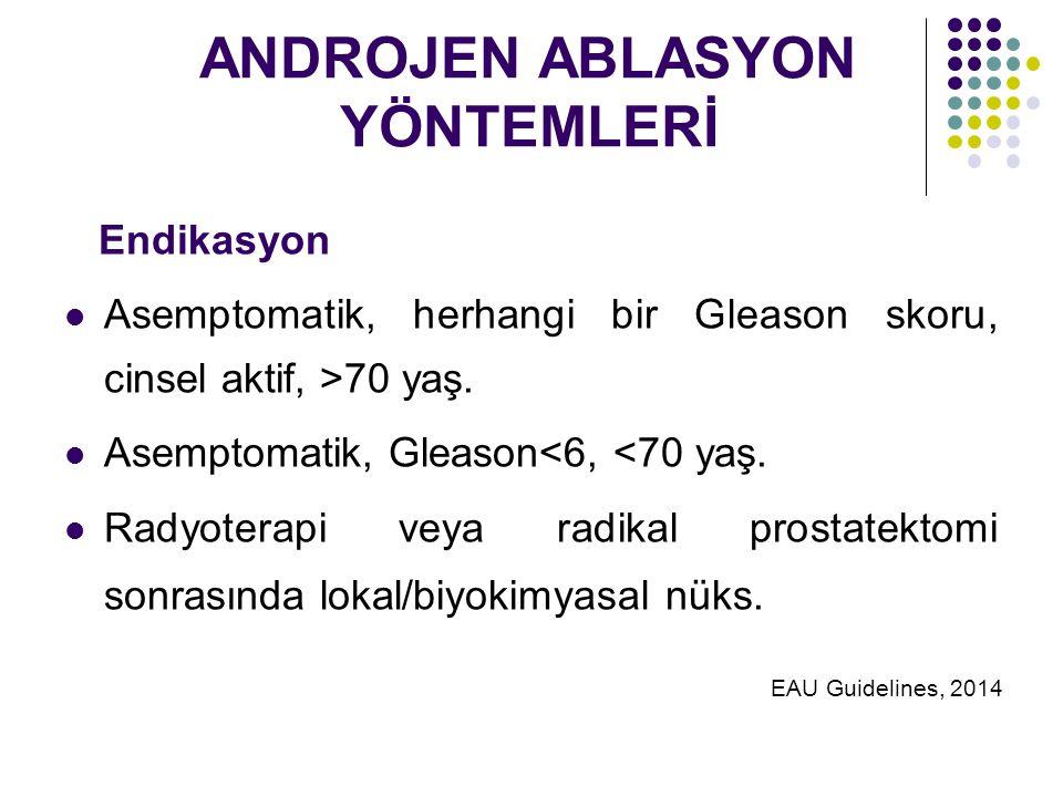 ANDROJEN ABLASYON YÖNTEMLERİ Endikasyon Asemptomatik, herhangi bir Gleason skoru, cinsel aktif, >70 yaş.