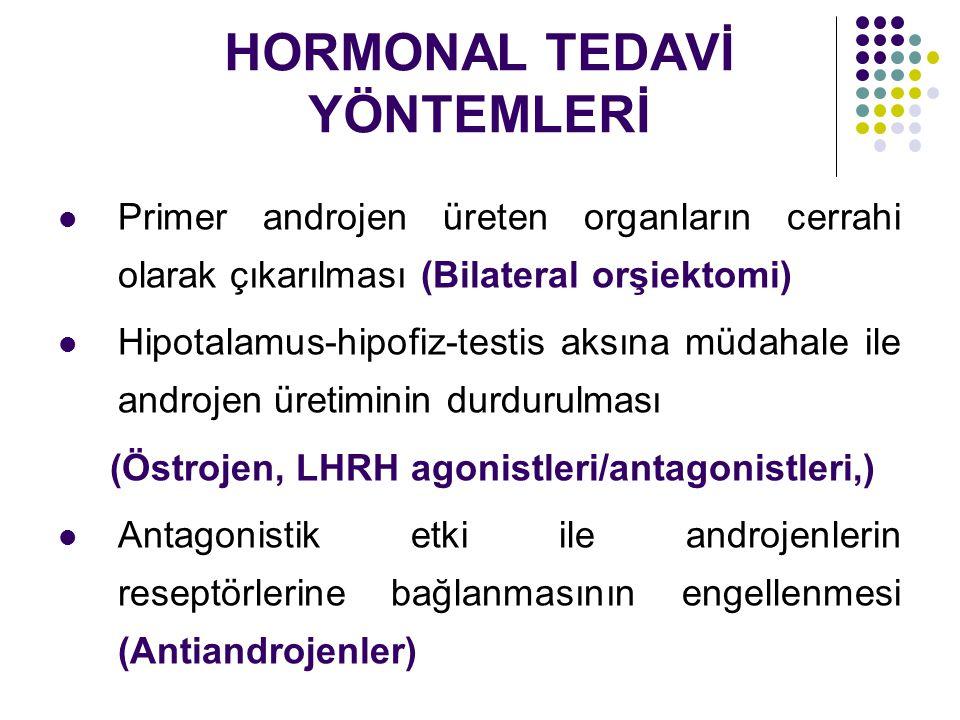 HORMONAL TEDAVİ YÖNTEMLERİ Primer androjen üreten organların cerrahi olarak çıkarılması (Bilateral orşiektomi) Hipotalamus-hipofiz-testis aksına müdahale ile androjen üretiminin durdurulması (Östrojen, LHRH agonistleri/antagonistleri,) Antagonistik etki ile androjenlerin reseptörlerine bağlanmasının engellenmesi (Antiandrojenler)