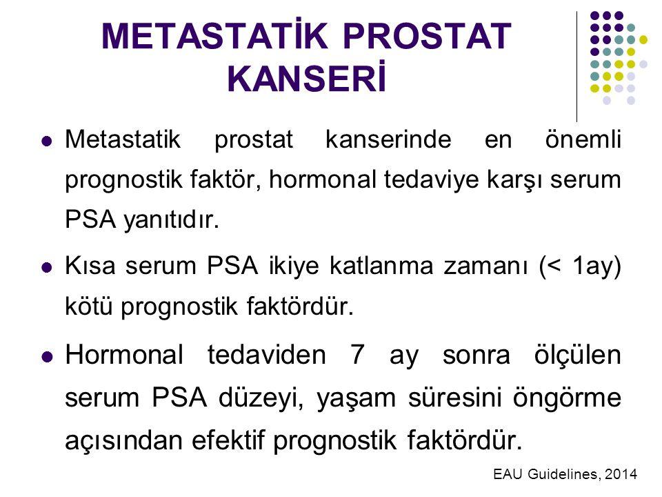 METASTATİK PROSTAT KANSERİ Metastatik prostat kanserinde en önemli prognostik faktör, hormonal tedaviye karşı serum PSA yanıtıdır.