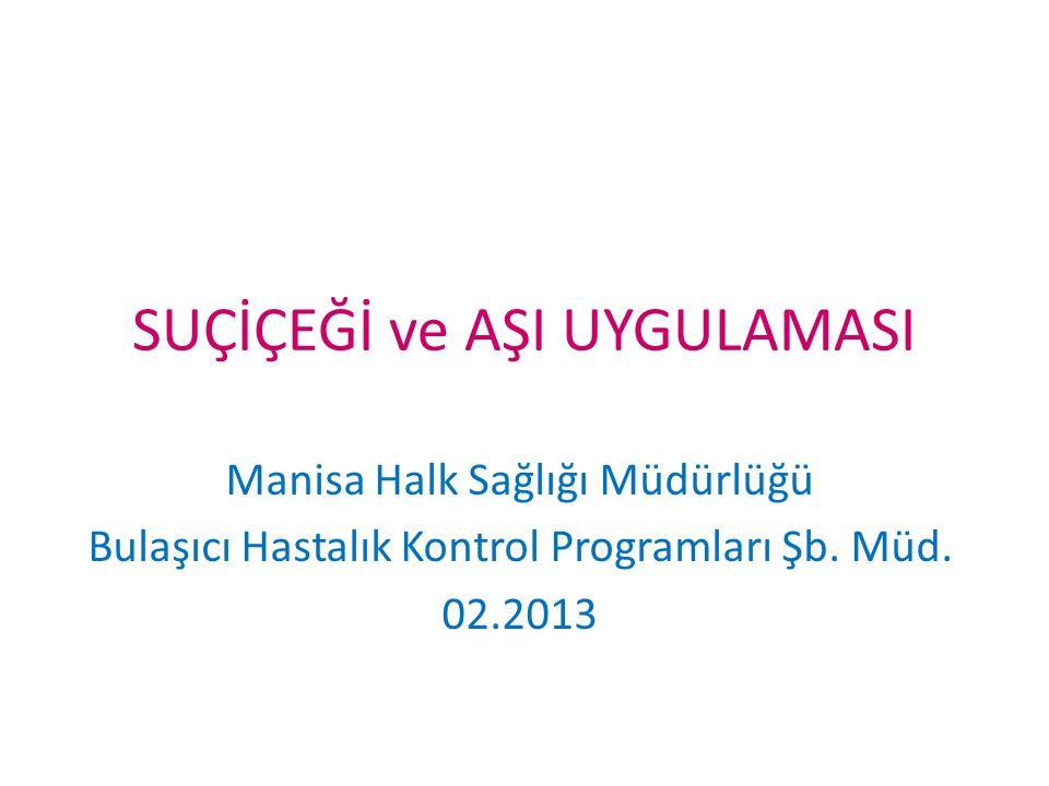 SUÇİÇEĞİ ve AŞI UYGULAMASI Manisa Halk Sağlığı Müdürlüğü Bulaşıcı Hastalık Kontrol Programları Şb. Müd. 02.2013