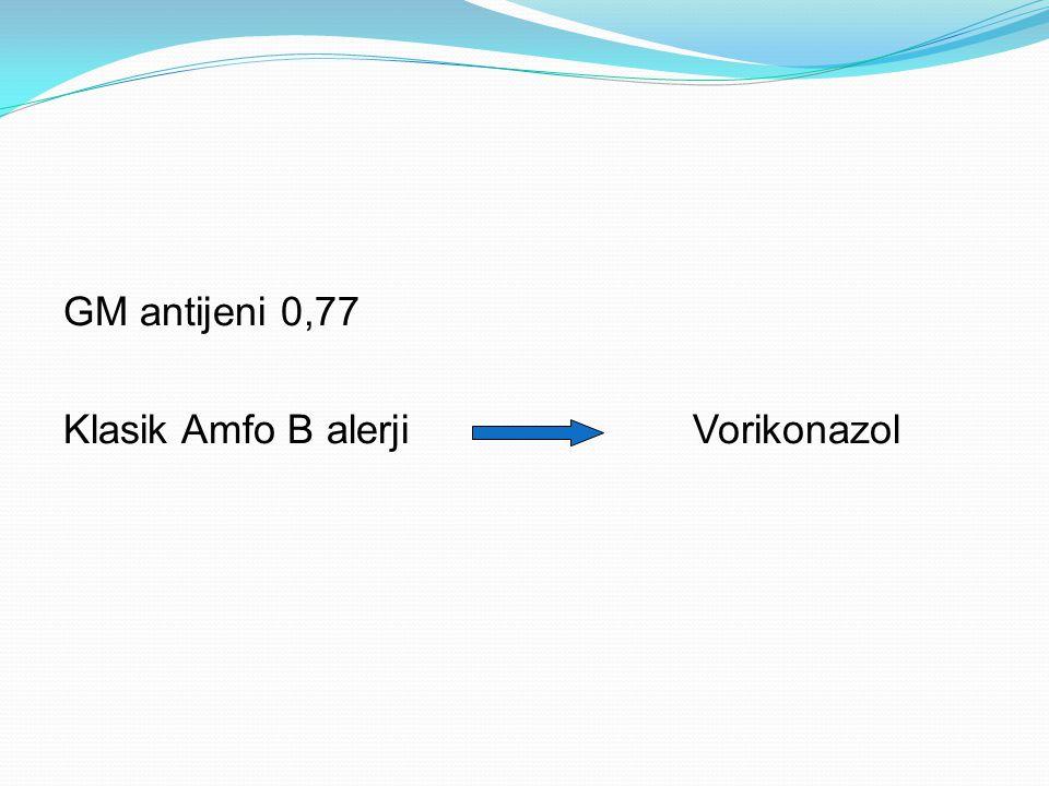GM antijeni 0,77 Klasik Amfo B alerjiVorikonazol