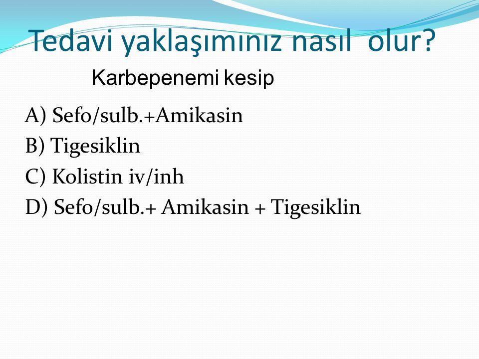 Tedavi yaklaşımınız nasıl olur? A) Sefo/sulb.+Amikasin B) Tigesiklin C) Kolistin iv/inh D) Sefo/sulb.+ Amikasin + Tigesiklin Karbepenemi kesip