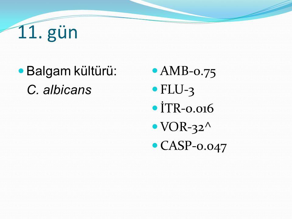 11. gün Balgam kültürü: C. albicans AMB-0.75 FLU-3 İTR-0.016 VOR-32^ CASP-0.047