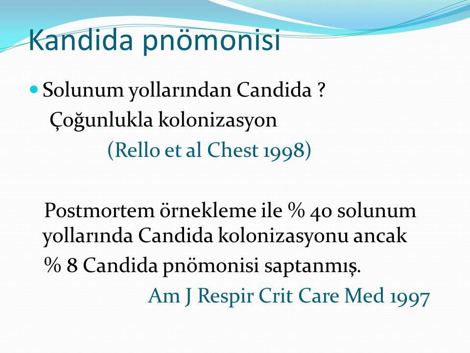 Kandida pnömonisi Solunum yollarından Candida ? Çoğunlukla kolonizasyon (Rello et al Chest 1998) Postmortem örnekleme ile % 40 solunum yollarında Cand