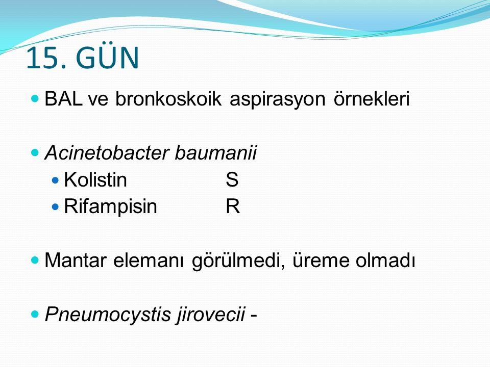 15. GÜN BAL ve bronkoskoik aspirasyon örnekleri Acinetobacter baumanii Kolistin S Rifampisin R Mantar elemanı görülmedi, üreme olmadı Pneumocystis jir