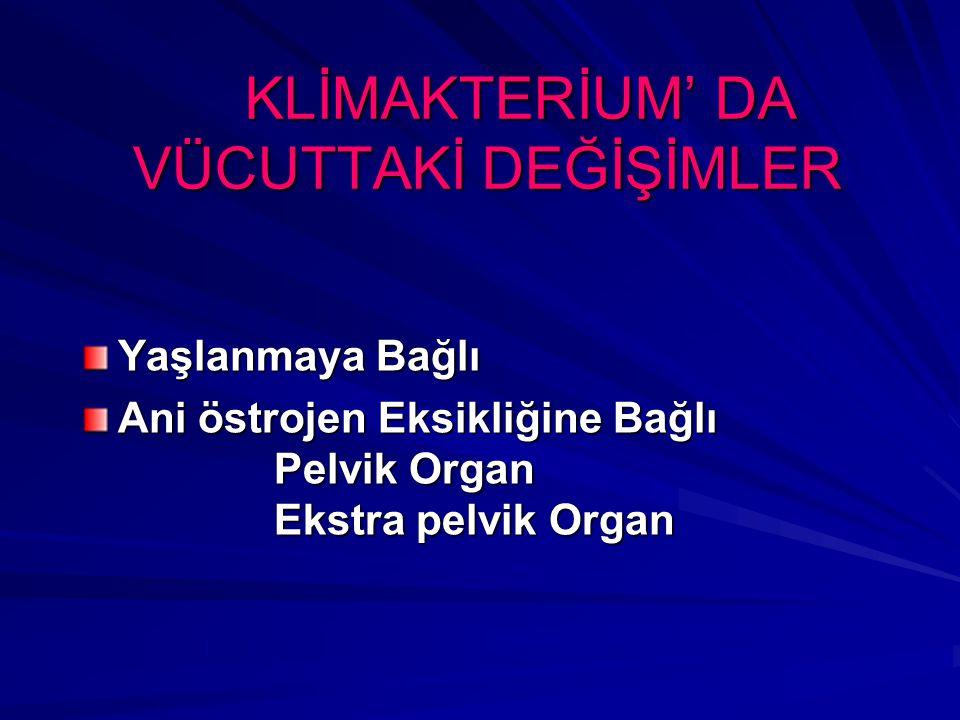 KLİMAKTERİUM' DA VÜCUTTAKİ DEĞİŞİMLER KLİMAKTERİUM' DA VÜCUTTAKİ DEĞİŞİMLER Yaşlanmaya Bağlı Ani östrojen Eksikliğine Bağlı Pelvik Organ Ekstra pelvik Organ
