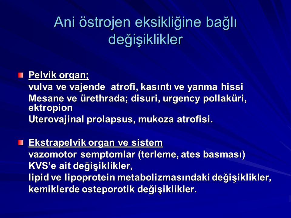 Ani östrojen eksikliğine bağlı değişiklikler Pelvik organ; vulva ve vajende atrofi, kasıntı ve yanma hissi Mesane ve ürethrada; disuri, urgency pollaküri, ektropion Uterovajinal prolapsus, mukoza atrofisi.