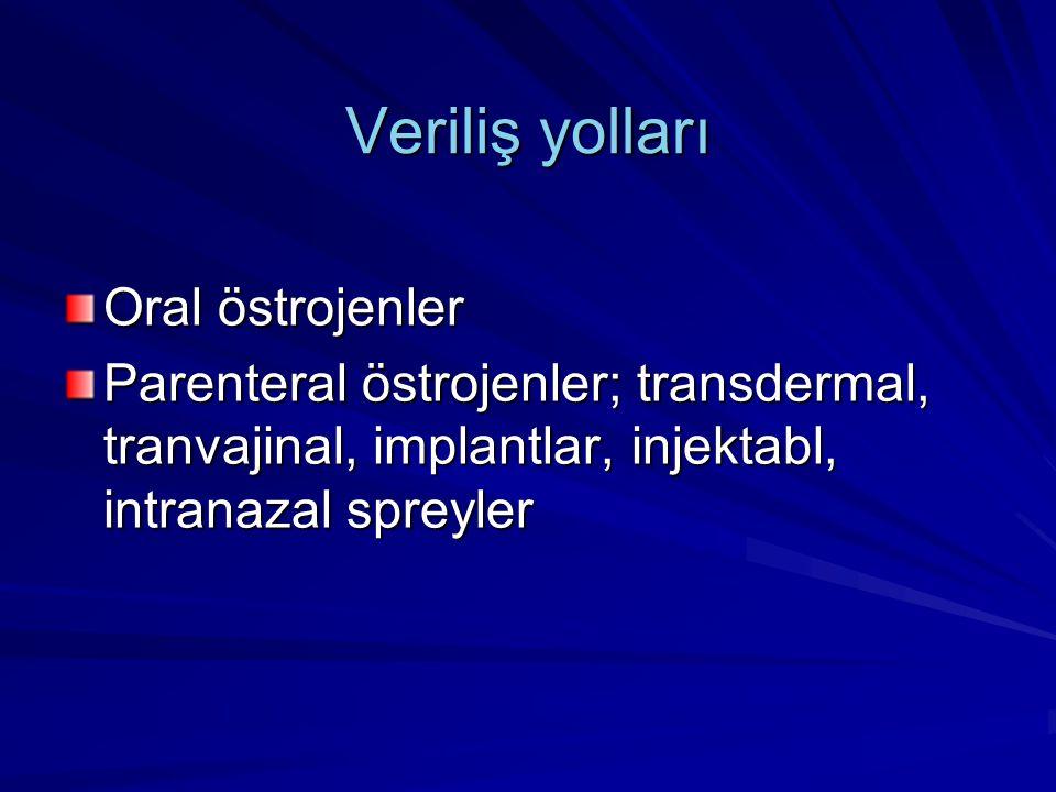 Veriliş yolları Oral östrojenler Parenteral östrojenler; transdermal, tranvajinal, implantlar, injektabl, intranazal spreyler