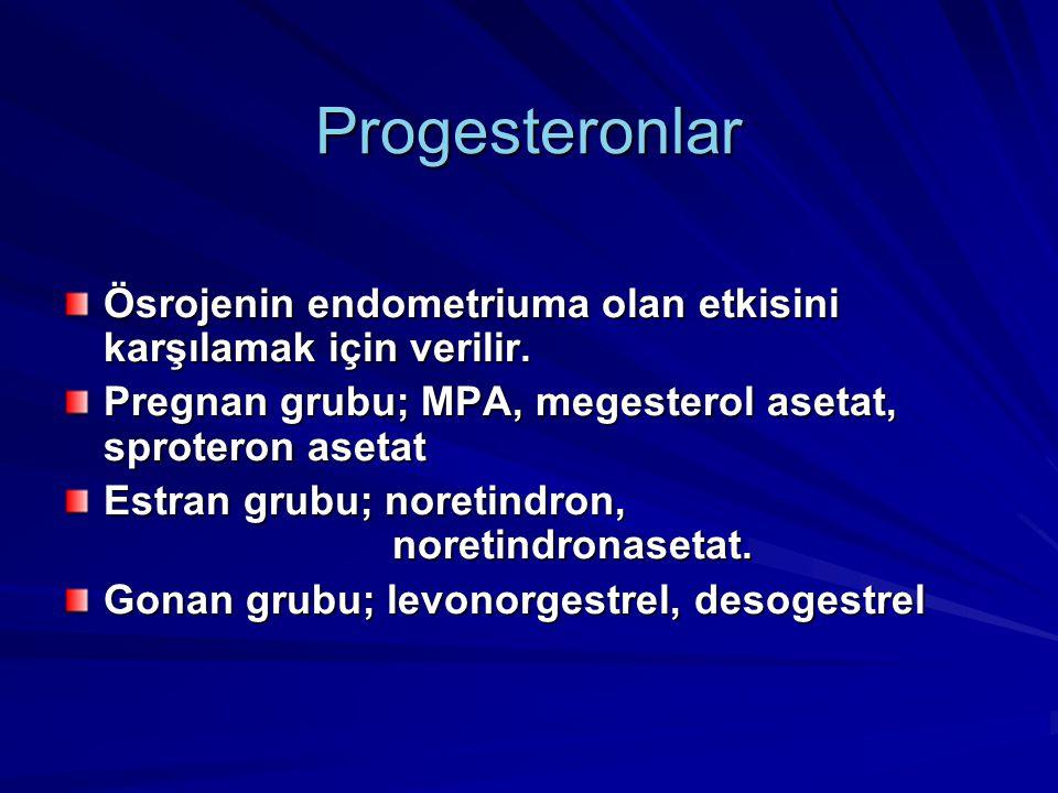 Progesteronlar Ösrojenin endometriuma olan etkisini karşılamak için verilir.