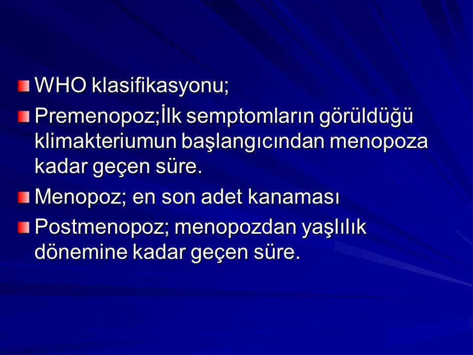 Menopoz yaşı ort.50-52 olarak kabul edilmektedir.(48-55 yaş) Türk kadınının ort.
