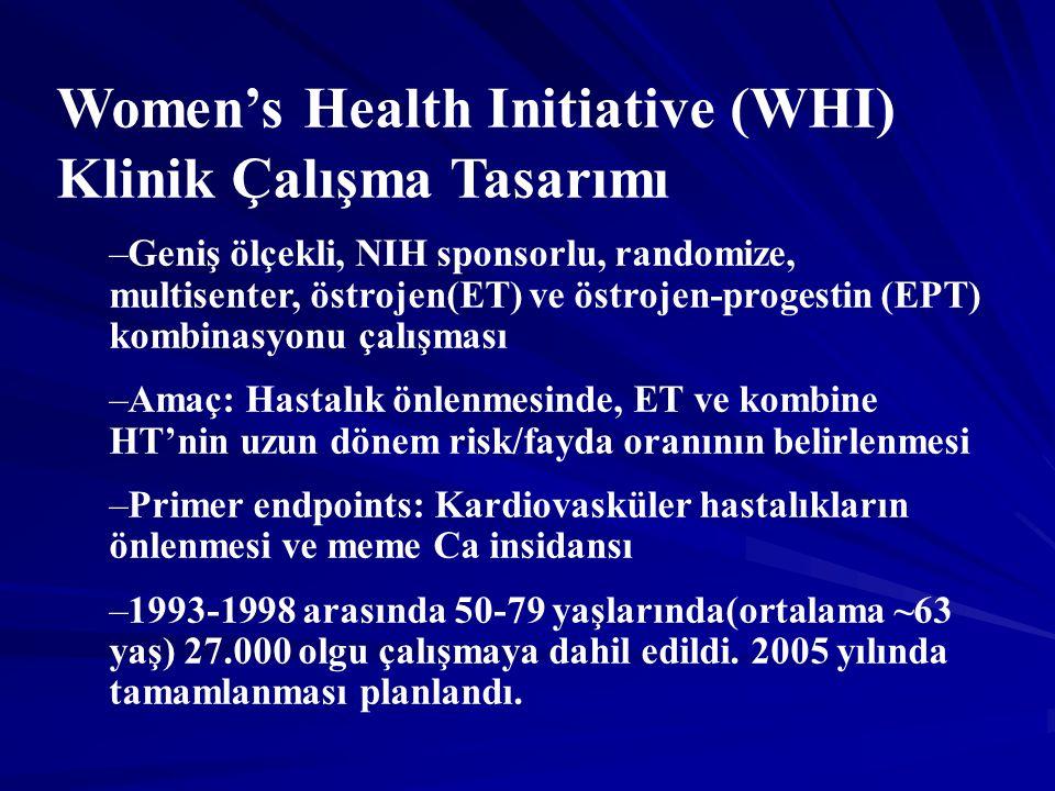 Women's Health Initiative (WHI) Klinik Çalışma Tasarımı –Geniş ölçekli, NIH sponsorlu, randomize, multisenter, östrojen(ET) ve östrojen-progestin (EPT) kombinasyonu çalışması –Amaç: Hastalık önlenmesinde, ET ve kombine HT'nin uzun dönem risk/fayda oranının belirlenmesi –Primer endpoints: Kardiovasküler hastalıkların önlenmesi ve meme Ca insidansı –1993-1998 arasında 50-79 yaşlarında(ortalama ~63 yaş) 27.000 olgu çalışmaya dahil edildi.
