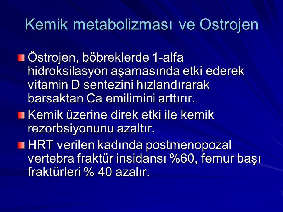 Kemik metabolizması ve Ostrojen Östrojen, böbreklerde 1-alfa hidroksilasyon aşamasında etki ederek vitamin D sentezini hızlandırarak barsaktan Ca emilimini arttırır.