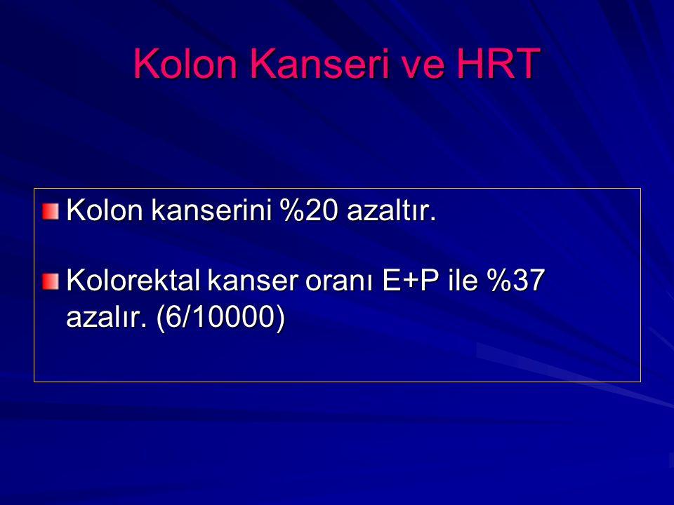 Kolon Kanseri ve HRT Kolon kanserini %20 azaltır.Kolorektal kanser oranı E+P ile %37 azalır.