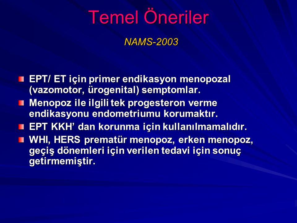 Temel Öneriler NAMS-2003 EPT/ ET için primer endikasyon menopozal (vazomotor, ürogenital) semptomlar.