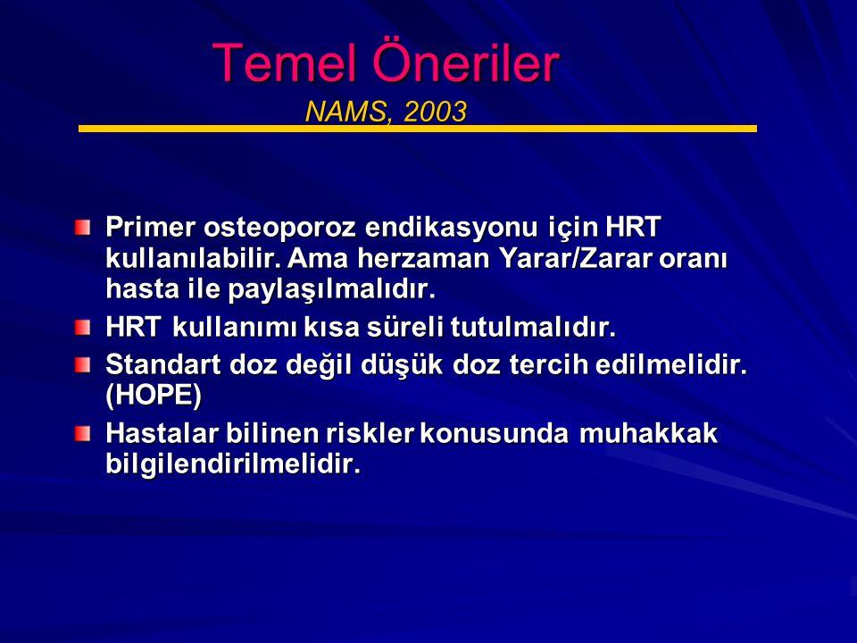 Temel Öneriler NAMS, 2003 Primer osteoporoz endikasyonu için HRT kullanılabilir.
