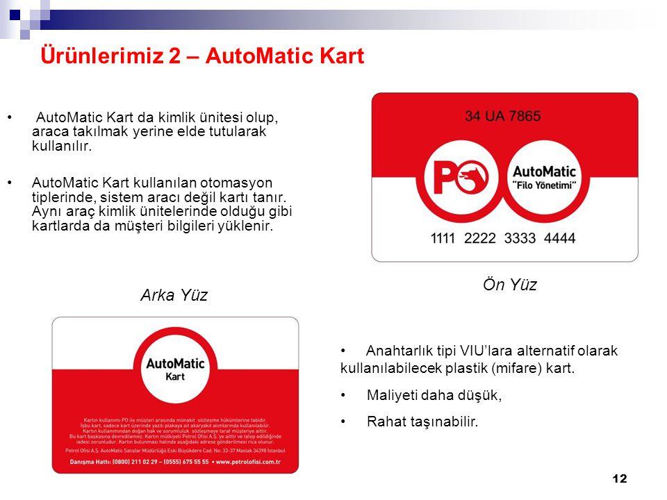 12 AutoMatic Kart da kimlik ünitesi olup, araca takılmak yerine elde tutularak kullanılır. AutoMatic Kart kullanılan otomasyon tiplerinde, sistem arac
