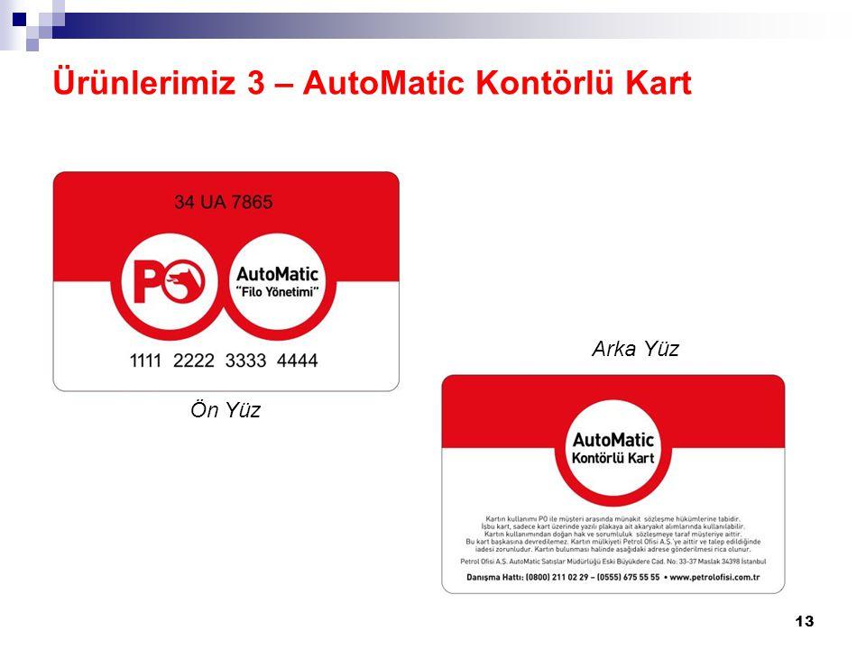13 Ürünlerimiz 3 – AutoMatic Kontörlü Kart Ön Yüz Arka Yüz