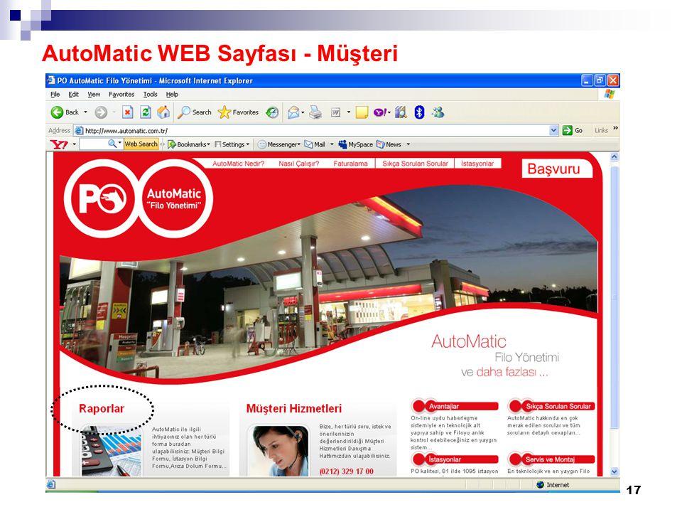 18 AutoMatic WEB Sayfası - Müşteri