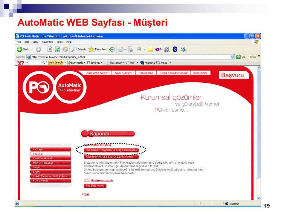 19 AutoMatic WEB Sayfası - Müşteri