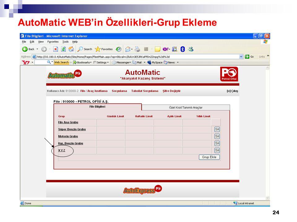 24 AutoMatic WEB'in Özellikleri-Grup Ekleme