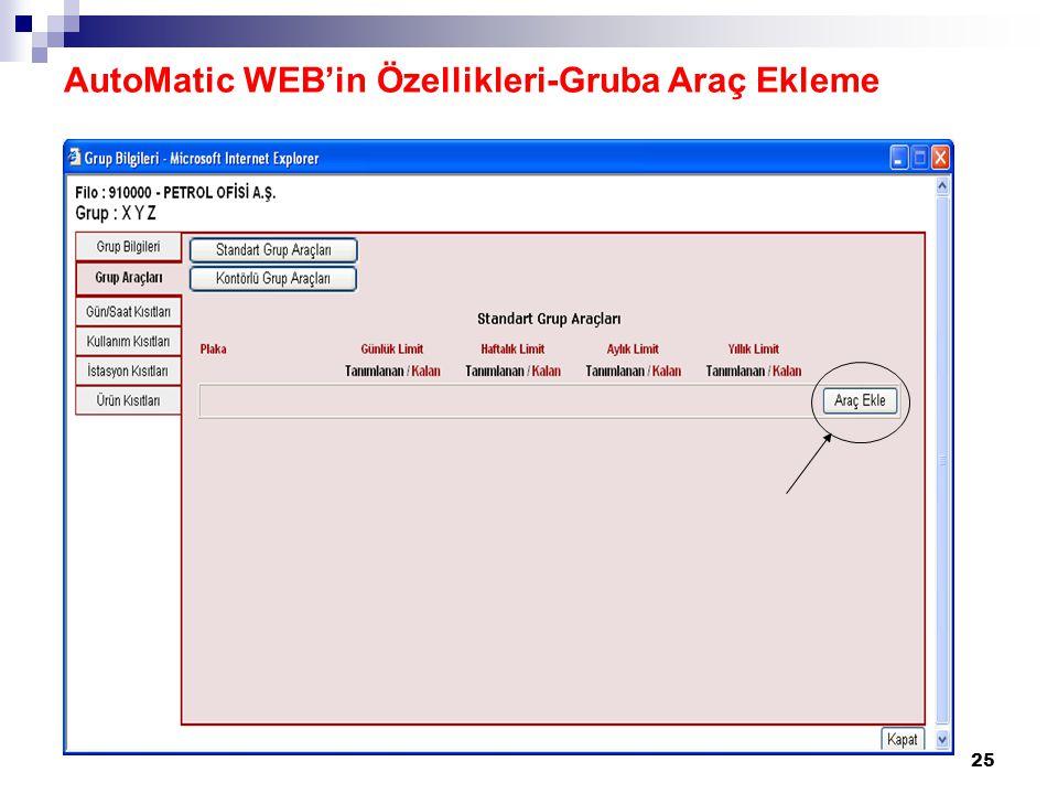 25 AutoMatic WEB'in Özellikleri-Gruba Araç Ekleme