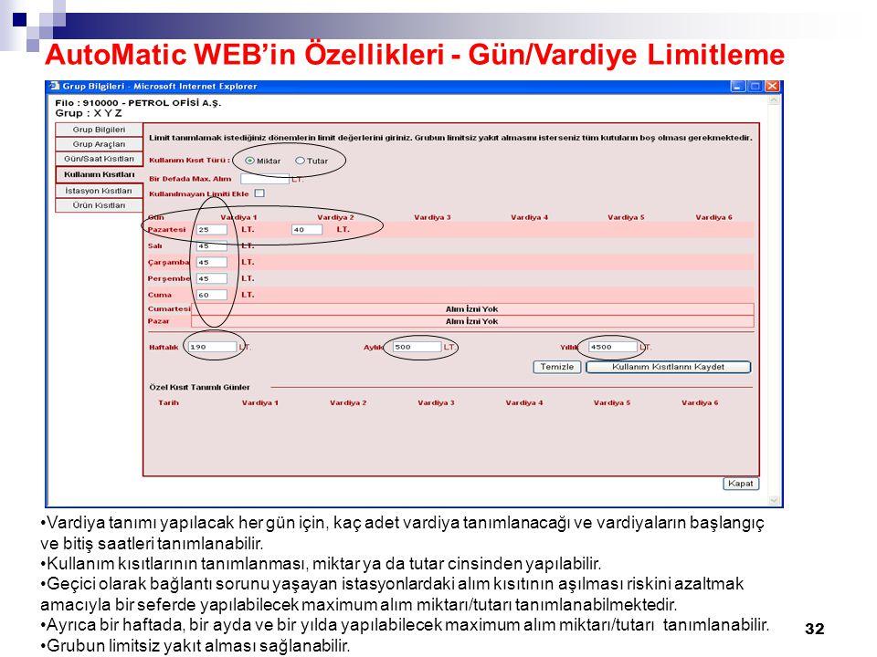 32 AutoMatic WEB'in Özellikleri - Gün/Vardiye Limitleme Vardiya tanımı yapılacak her gün için, kaç adet vardiya tanımlanacağı ve vardiyaların başlangıç ve bitiş saatleri tanımlanabilir.