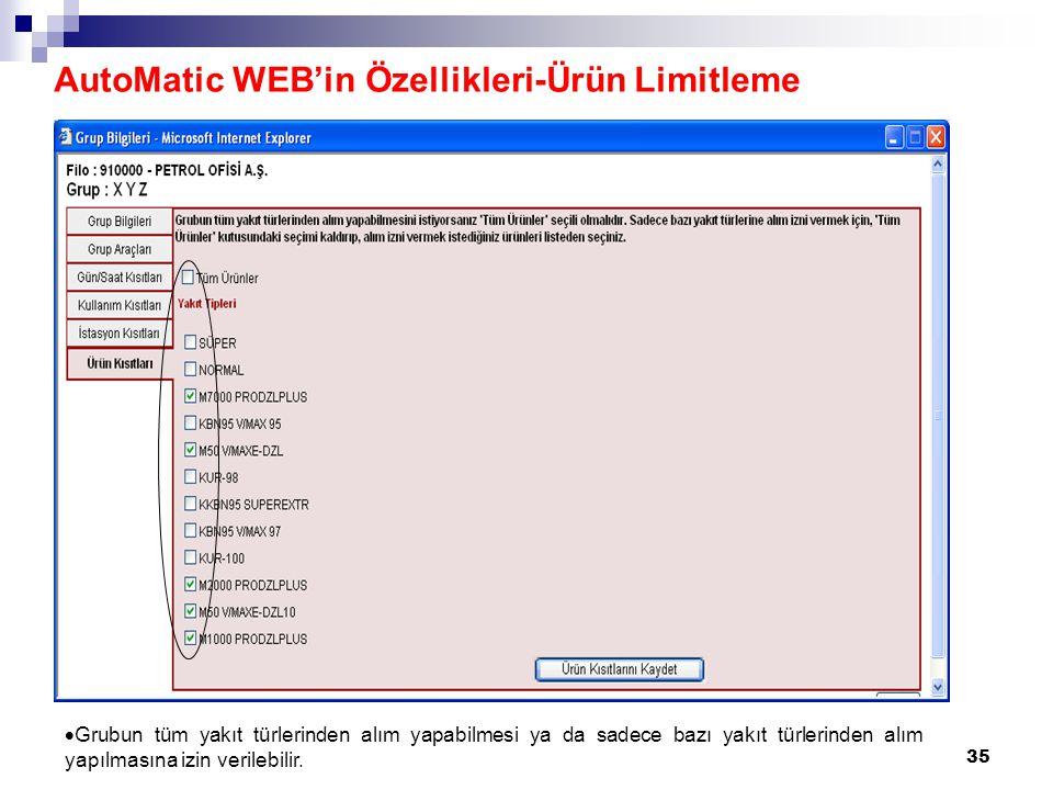35 AutoMatic WEB'in Özellikleri-Ürün Limitleme  Grubun tüm yakıt türlerinden alım yapabilmesi ya da sadece bazı yakıt türlerinden alım yapılmasına izin verilebilir.