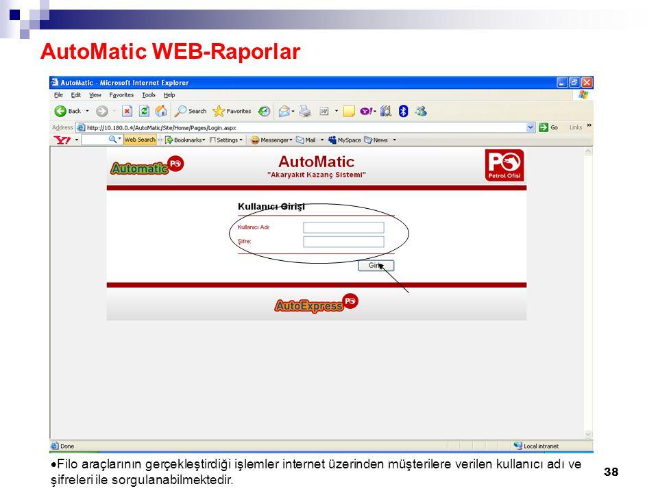 38  Filo araçlarının gerçekleştirdiği işlemler internet üzerinden müşterilere verilen kullanıcı adı ve şifreleri ile sorgulanabilmektedir. AutoMatic