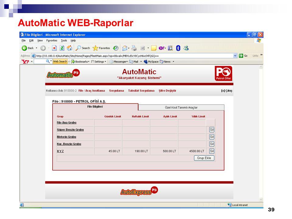 39 AutoMatic WEB-Raporlar