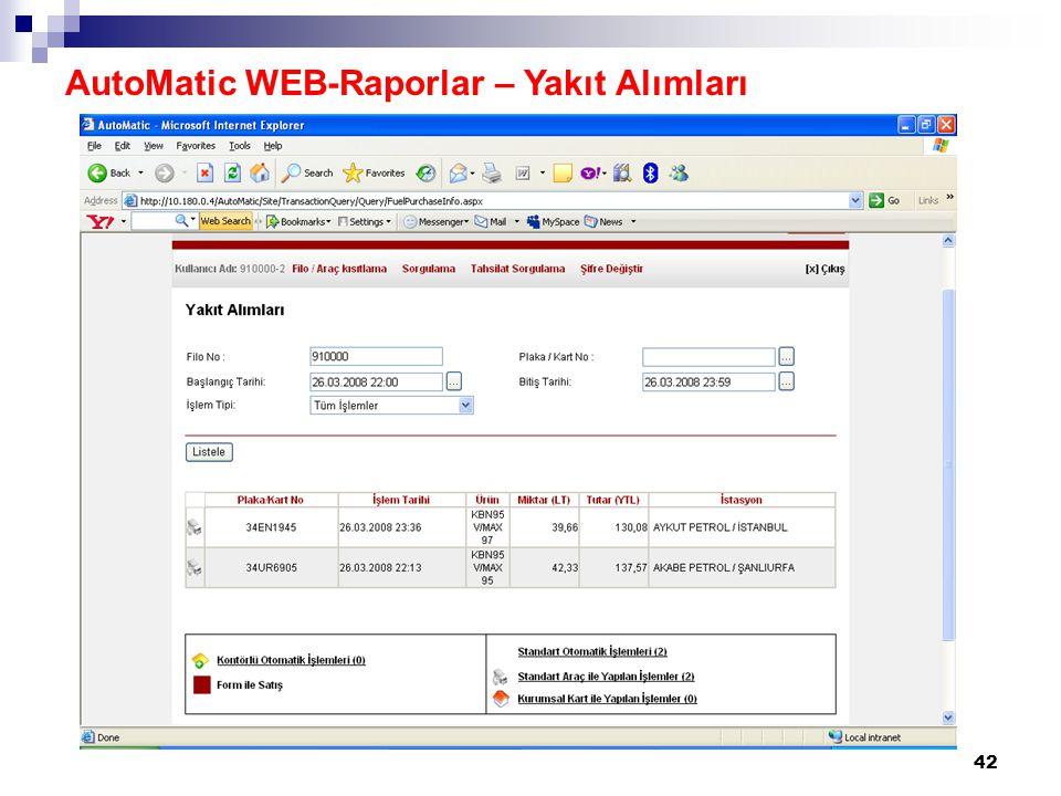 42 AutoMatic WEB-Raporlar – Yakıt Alımları