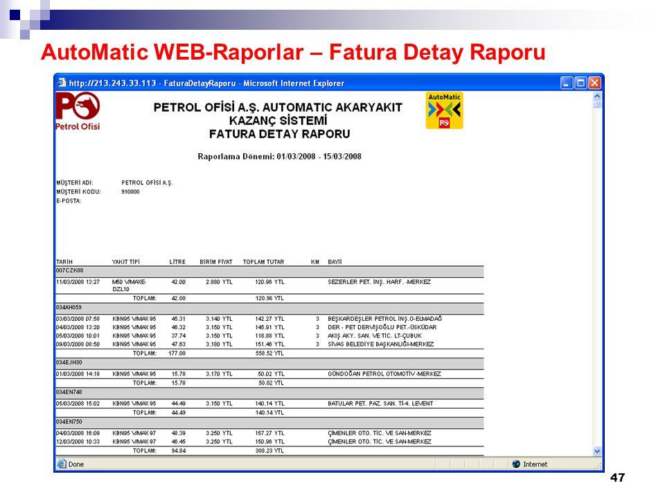 48 AutoMatic WEB-Raporlar – Fatura Detay Raporu
