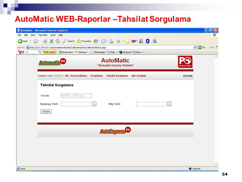 54 AutoMatic WEB-Raporlar –Tahsilat Sorgulama