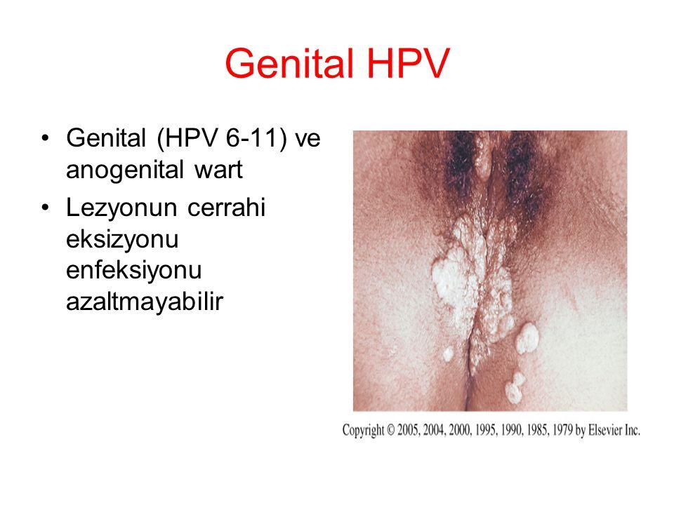 Genital HPV Genital (HPV 6-11) ve anogenital wart Lezyonun cerrahi eksizyonu enfeksiyonu azaltmayabilir