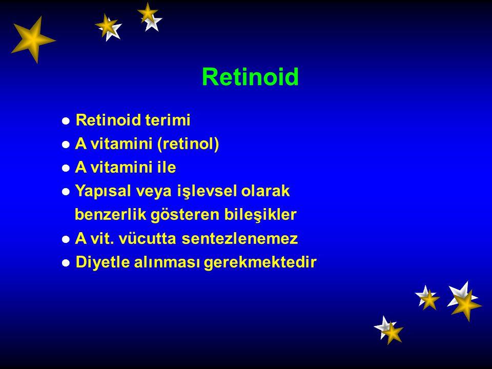 Retinoid terimi A vitamini (retinol) A vitamini ile Yapısal veya işlevsel olarak benzerlik gösteren bileşikler A vit. vücutta sentezlenemez Diyetle al