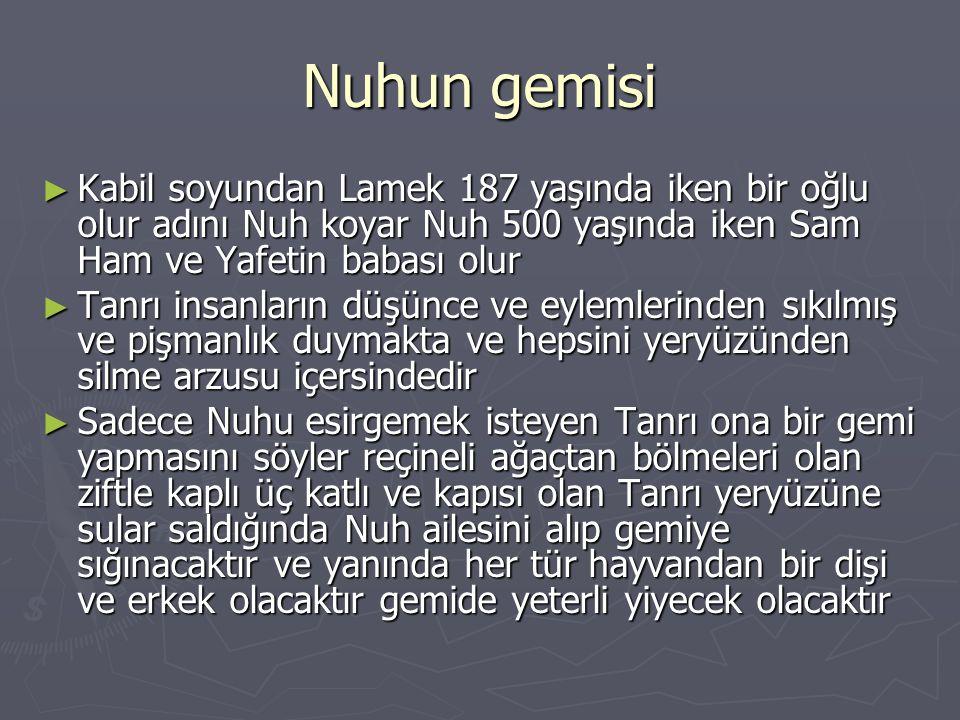 Nuhun gemisi ► Kabil soyundan Lamek 187 yaşında iken bir oğlu olur adını Nuh koyar Nuh 500 yaşında iken Sam Ham ve Yafetin babası olur ► Tanrı insanla