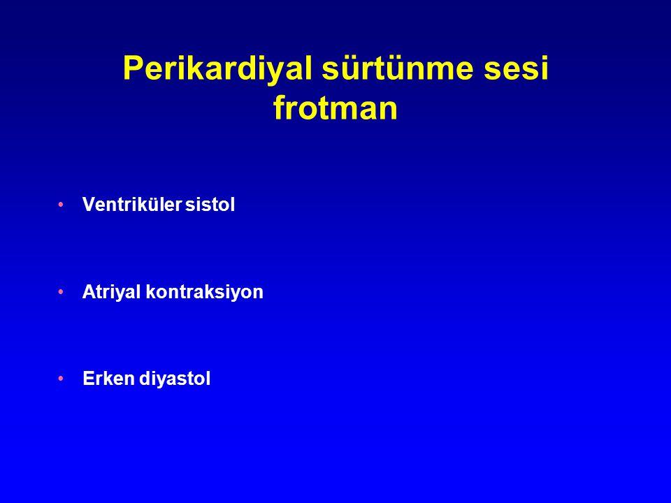 Perikardiyal sürtünme sesi frotman Ventriküler sistol Atriyal kontraksiyon Erken diyastol