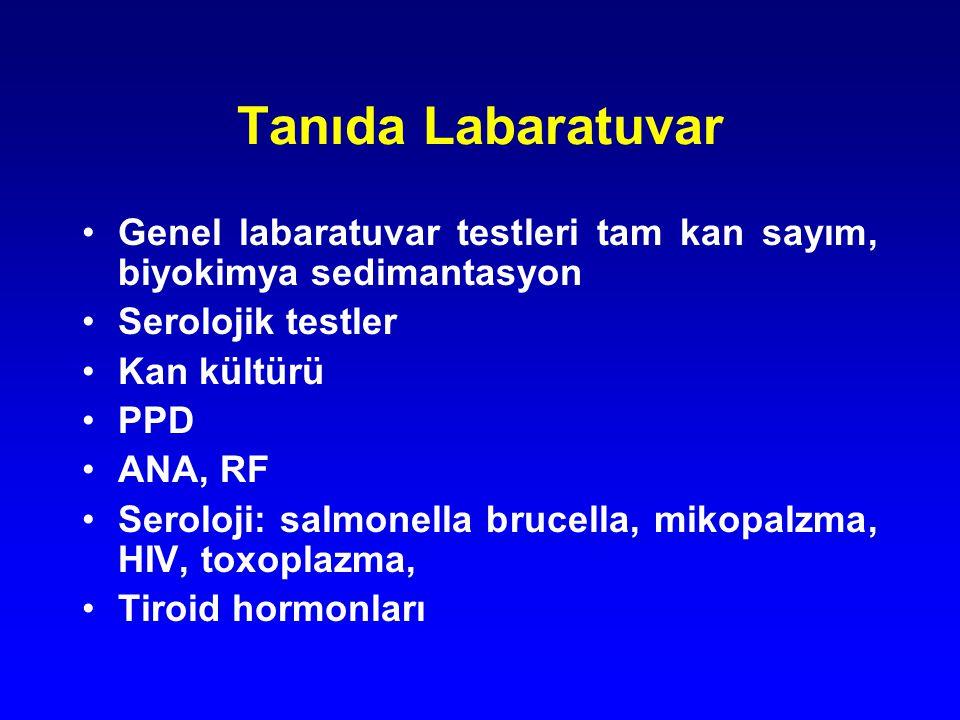Tanıda Labaratuvar Genel labaratuvar testleri tam kan sayım, biyokimya sedimantasyon Serolojik testler Kan kültürü PPD ANA, RF Seroloji: salmonella br
