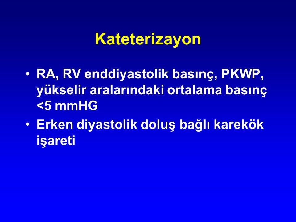 Kateterizayon RA, RV enddiyastolik basınç, PKWP, yükselir aralarındaki ortalama basınç <5 mmHG Erken diyastolik doluş bağlı karekök işareti