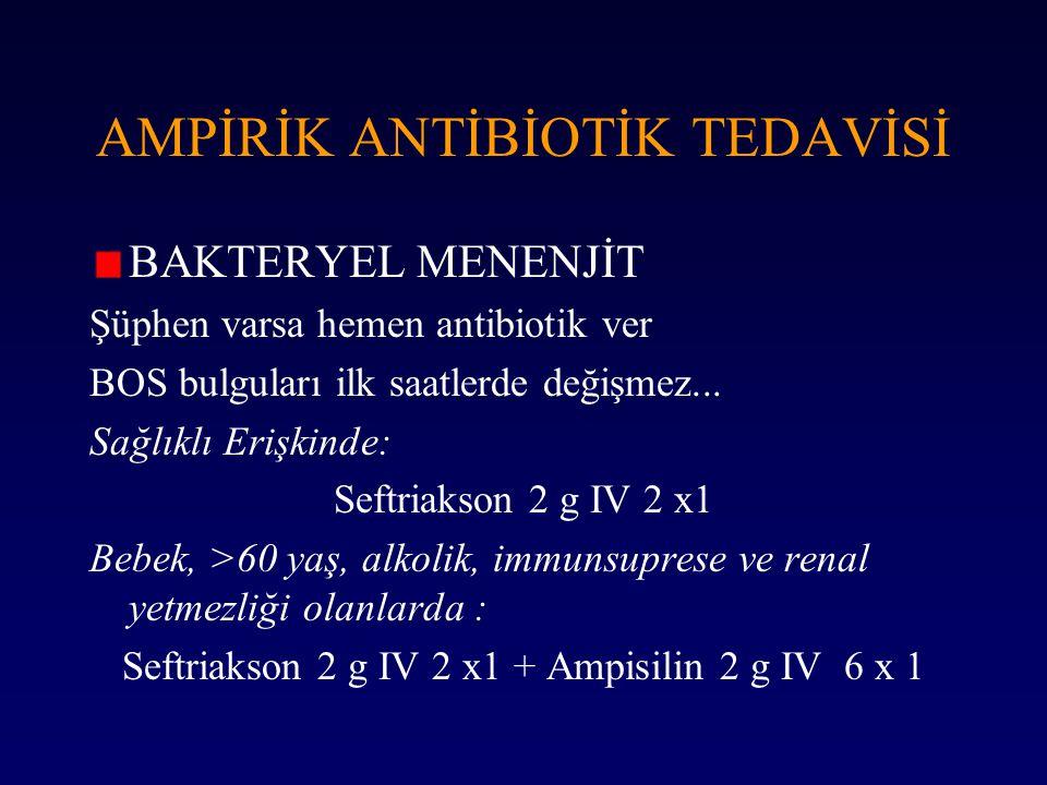 AMPİRİK ANTİBİOTİK TEDAVİSİ BAKTERYEL MENENJİT Şüphen varsa hemen antibiotik ver BOS bulguları ilk saatlerde değişmez... Sağlıklı Erişkinde: Seftriaks