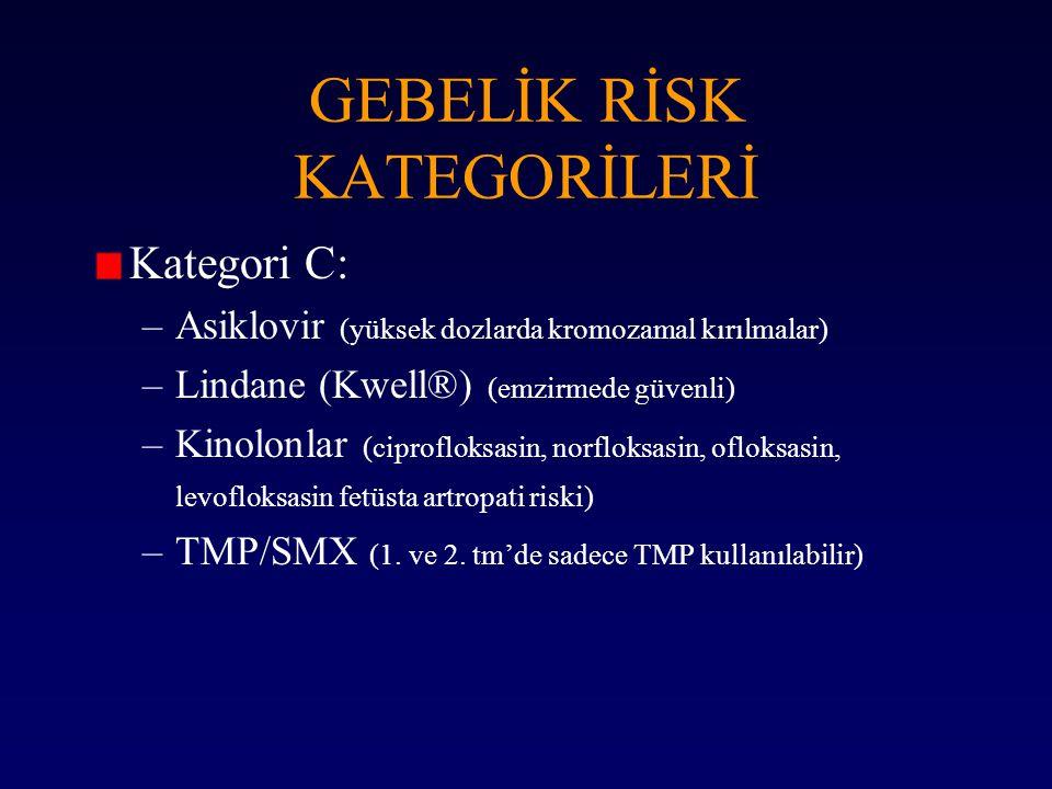 Kategori C: –Asiklovir (yüksek dozlarda kromozamal kırılmalar) –Lindane (Kwell®) (emzirmede güvenli) –Kinolonlar (ciprofloksasin, norfloksasin, ofloks