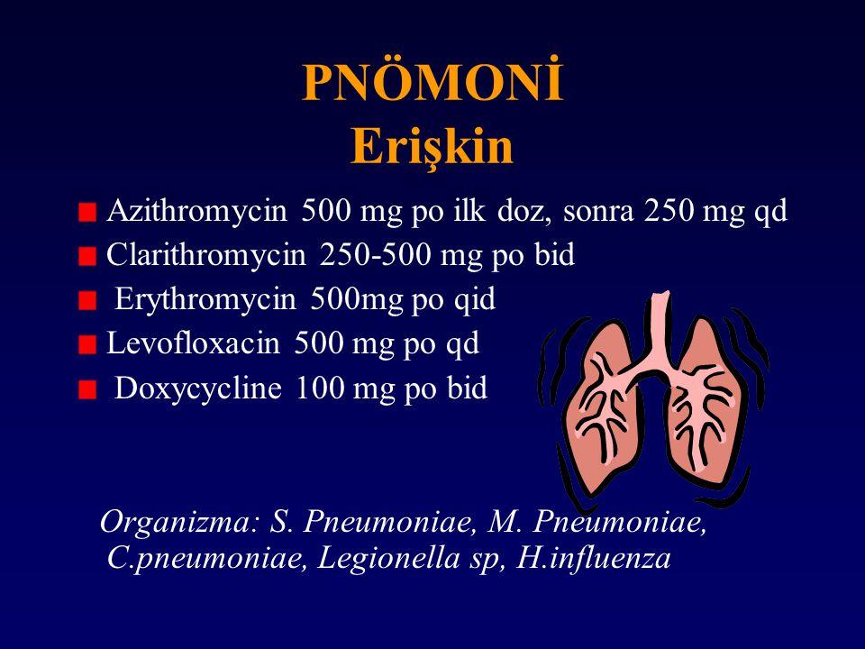 PNÖMONİ Erişkin Azithromycin 500 mg po ilk doz, sonra 250 mg qd Clarithromycin 250-500 mg po bid Erythromycin 500mg po qid Levofloxacin 500 mg po qd D