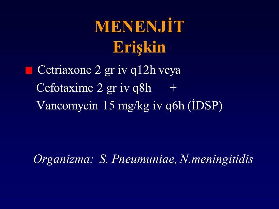 MENENJİT Erişkin Cetriaxone 2 gr iv q12h veya Cefotaxime 2 gr iv q8h + Vancomycin 15 mg/kg iv q6h (İDSP) Organizma: S. Pneumuniae, N.meningitidis