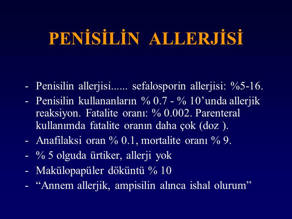 PENİSİLİN ALLERJİSİ -Penisilin allerjisi...... sefalosporin allerjisi: %5-16. -Penisilin kullananların % 0.7 - % 10'unda allerjik reaksiyon. Fatalite